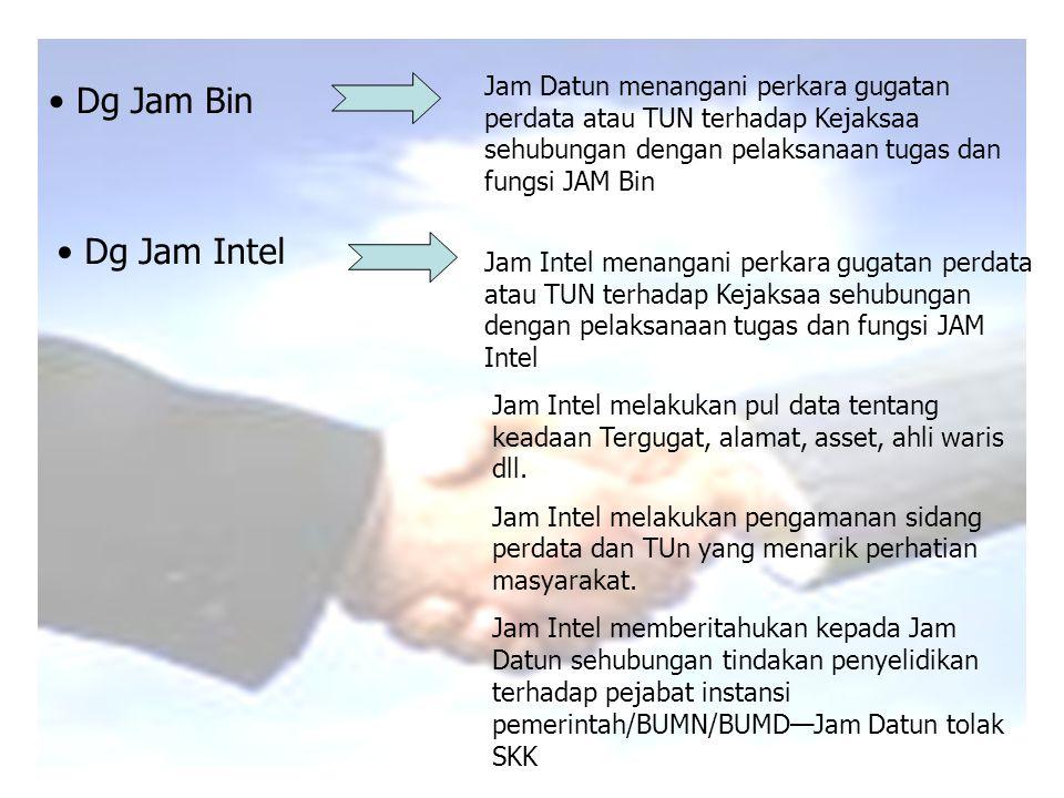 Jam Datun menangani perkara gugatan perdata atau TUN terhadap Kejaksaa sehubungan dengan pelaksanaan tugas dan fungsi JAM Bin Dg Jam Intel Dg Jam Bin