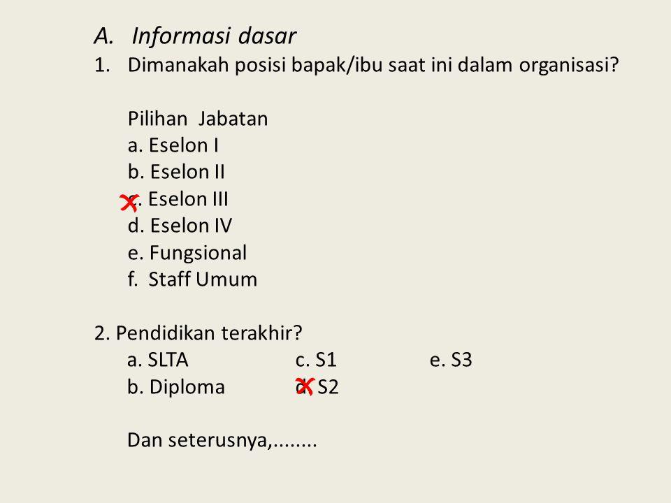 A.Informasi dasar 1.Dimanakah posisi bapak/ibu saat ini dalam organisasi? Pilihan Jabatan a. Eselon I b. Eselon II c. Eselon III d. Eselon IV e. Fungs