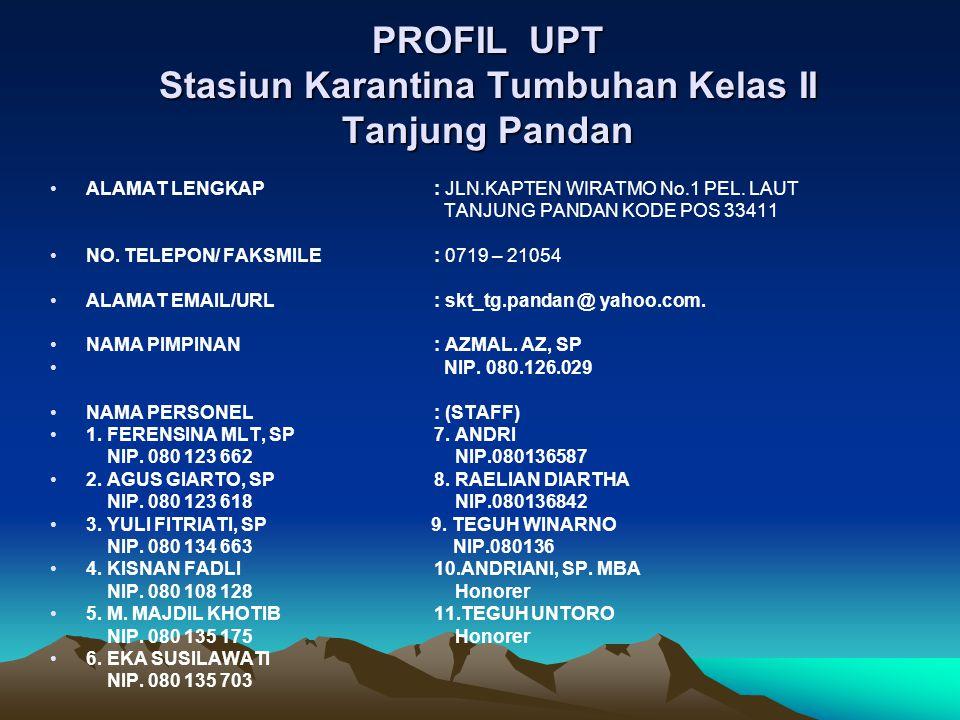PROFIL UPT Stasiun Karantina Tumbuhan Kelas II Tanjung Pandan ALAMAT LENGKAP : JLN.KAPTEN WIRATMO No.1 PEL.