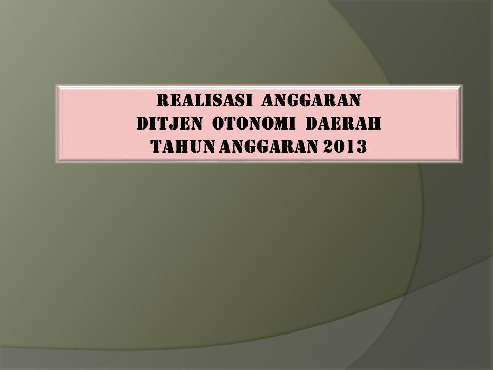 REALISASI ANGGARAN DITJEN OTONOMI DAERAH TAHUN ANGGARAN 2013