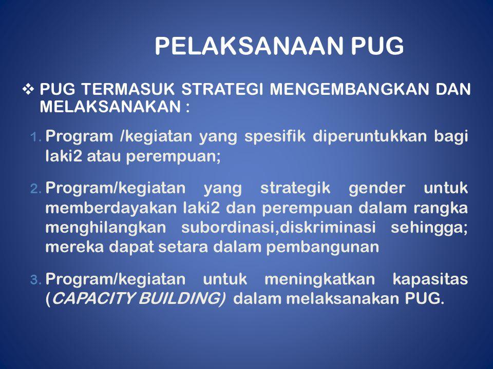 PELAKSANAAN PUG  PUG TERMASUK STRATEGI MENGEMBANGKAN DAN MELAKSANAKAN : 1. Program /kegiatan yang spesifik diperuntukkan bagi laki2 atau perempuan; 2