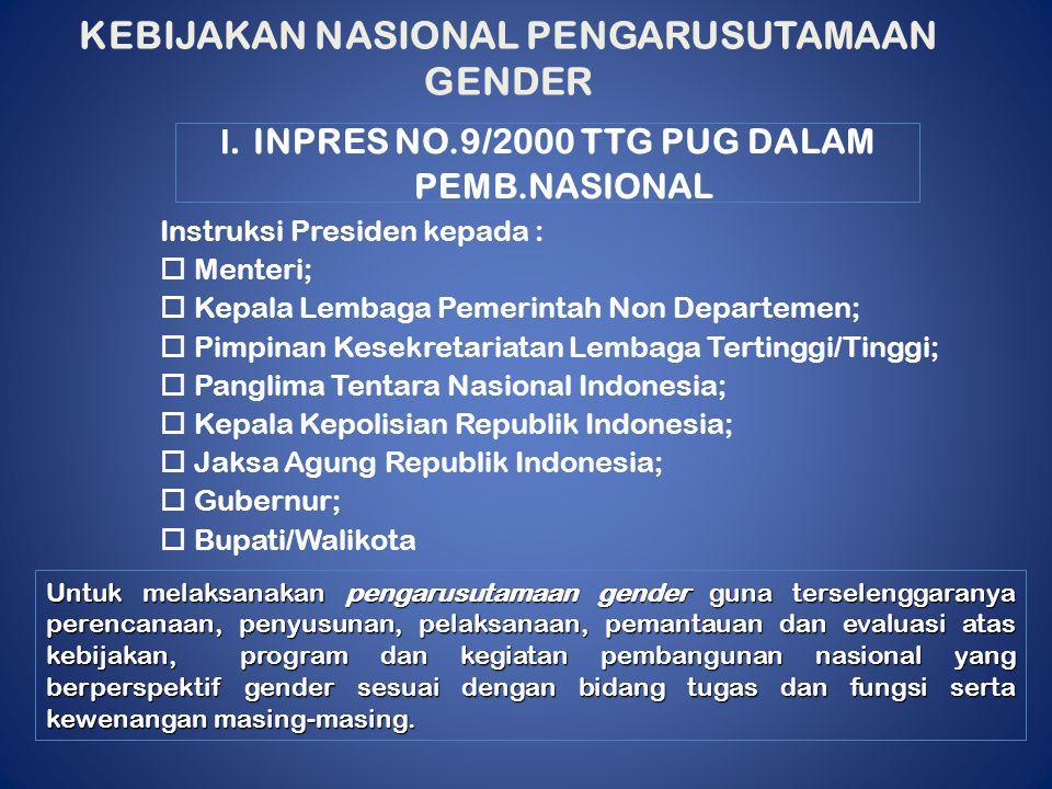 I. INPRES NO.9/2000 TTG PUG DALAM PEMB.NASIONAL Instruksi Presiden kepada :  Menteri;  Kepala Lembaga Pemerintah Non Departemen;  Pimpinan Kesekret
