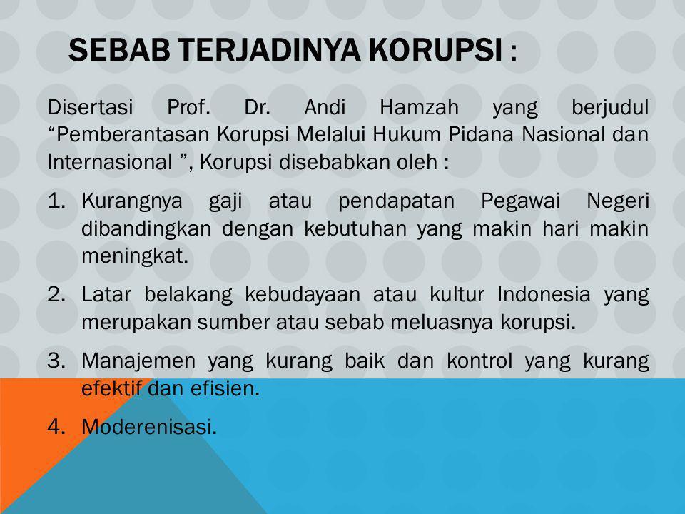 "SEBAB TERJADINYA KORUPSI : Disertasi Prof. Dr. Andi Hamzah yang berjudul ""Pemberantasan Korupsi Melalui Hukum Pidana Nasional dan Internasional "", Kor"