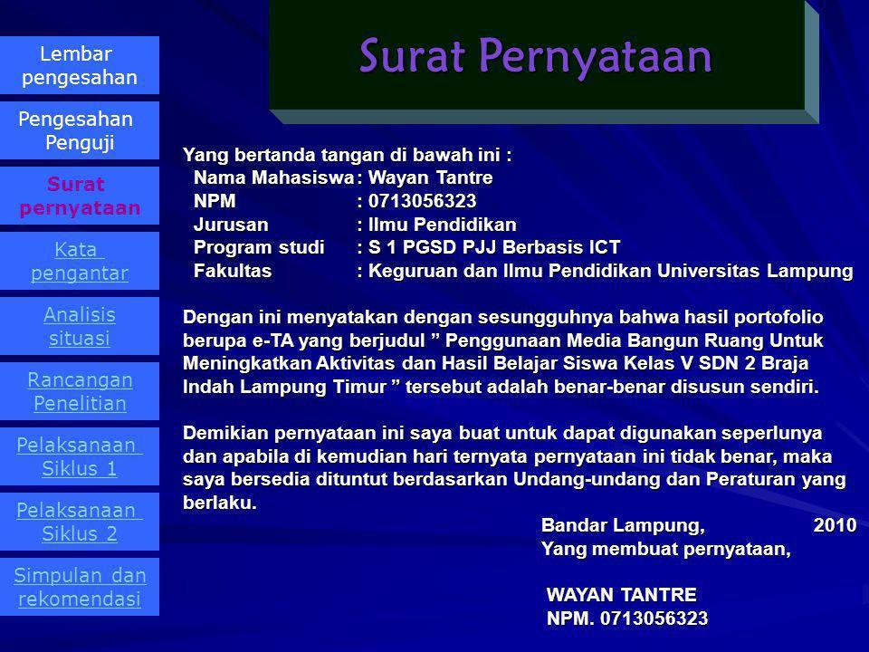 OLEH Wayan Tantre NPM 0713056323 Telah diujikan pada, OLEH Wayan Tantre NPM 0713056323 Sebagai Salah Satu Syarat untuk Mencapai Gelar SARJANA PENDIDIK