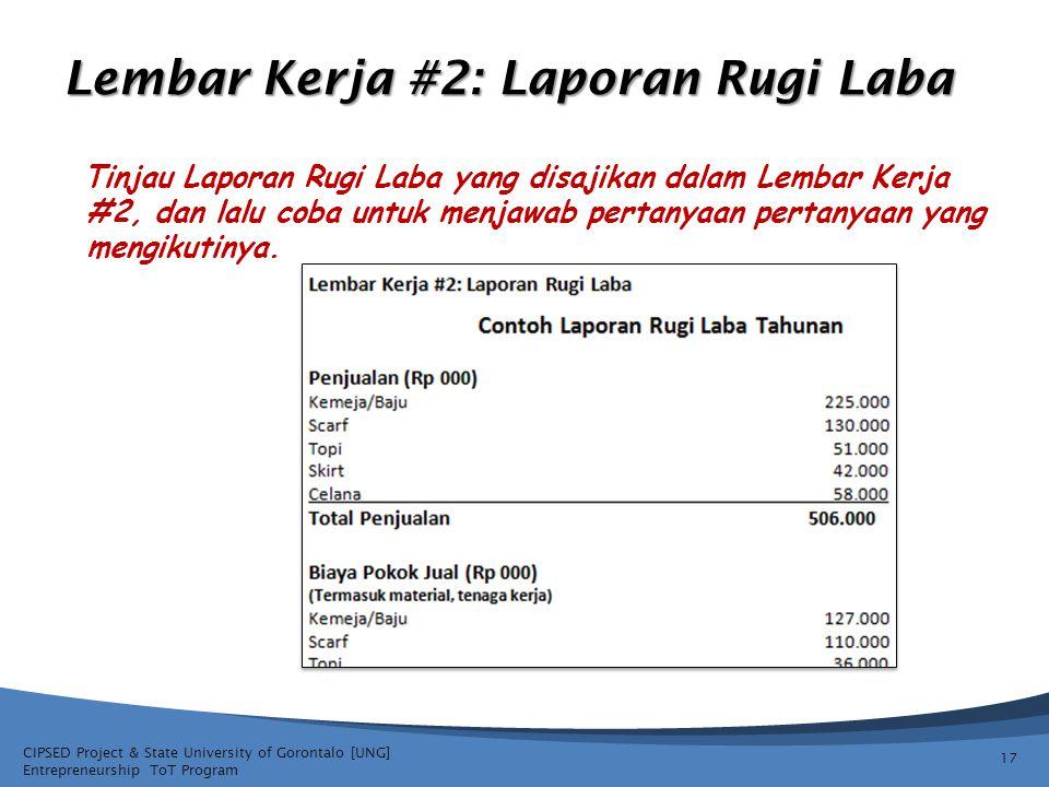CIPSED Project & State University of Gorontalo [UNG] Entrepreneurship ToT Program Lembar Kerja #2: Laporan Rugi Laba Tinjau Laporan Rugi Laba yang disajikan dalam Lembar Kerja #2, dan lalu coba untuk menjawab pertanyaan pertanyaan yang mengikutinya.
