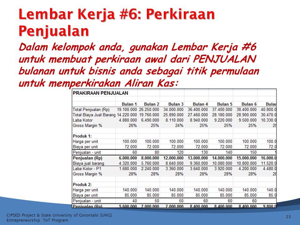 CIPSED Project & State University of Gorontalo [UNG] Entrepreneurship ToT Program Lembar Kerja #6: Perkiraan Penjualan Dalam kelompok anda, gunakan Lembar Kerja #6 untuk membuat perkiraan awal dari PENJUALAN bulanan untuk bisnis anda sebagai titik permulaan untuk memperkirakan Aliran Kas: 23