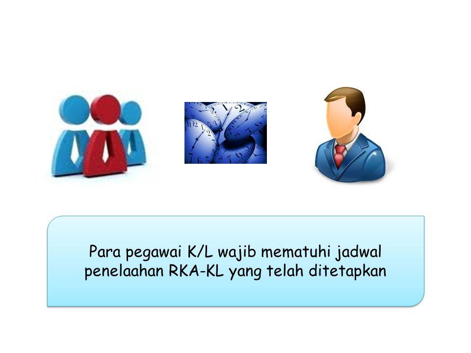 Para pegawai K/L yang hadir dalam penelaahan RKA-KL adalah benar-benar pegawai yang ditugaskan untuk melakukan penelaahan dari instansi masing-masing SURAT TUGAS
