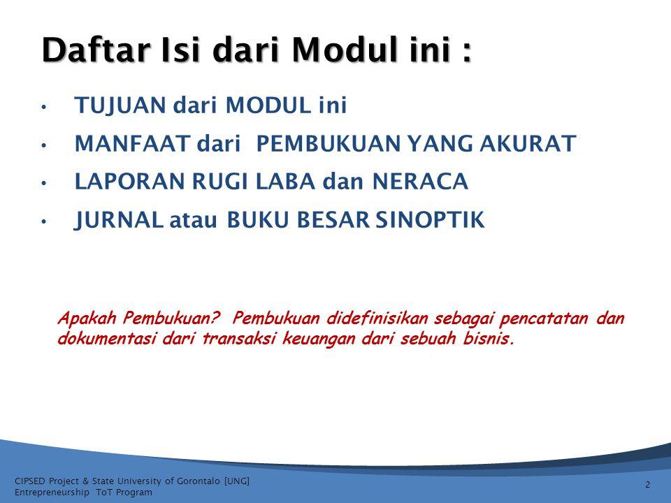 CIPSED Project & State University of Gorontalo [UNG] Entrepreneurship ToT Program Daftar Isi dari Modul ini : TUJUAN dari MODUL ini MANFAAT dari PEMBU