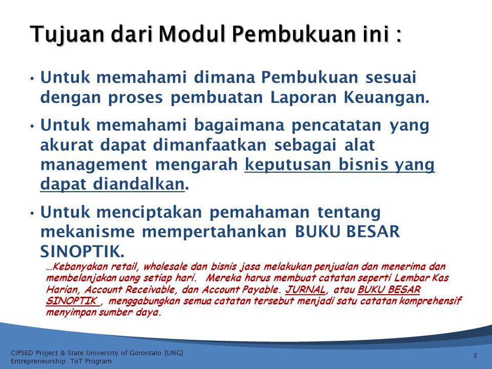 CIPSED Project & State University of Gorontalo [UNG] Entrepreneurship ToT Program Tujuan dari Modul Pembukuan ini : Untuk memahami dimana Pembukuan se