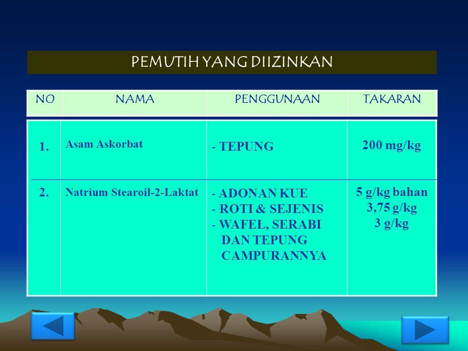 PENGATUR KEASAMAN YANG DIIZINKAN NONAMAPENGGUNAANTAKARAN 1. 2. 3. Aluminium Amon/Kal/Na. Sulfat Asam Sitrat K, Na Bikarbonat - SODA KUE - COKLAT, COKL