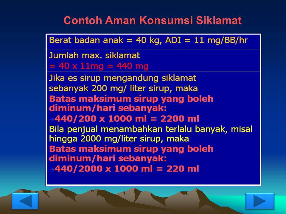 NOJENIS PEMANISADI (mg/kg berat badan) NILAI KALORI kkal/gr BPM (mg/kg) 1.Alitam0,341.440 - 300 2.Asesulfam-K150200 – 5000 3.Aspartam500.4300 - 10000