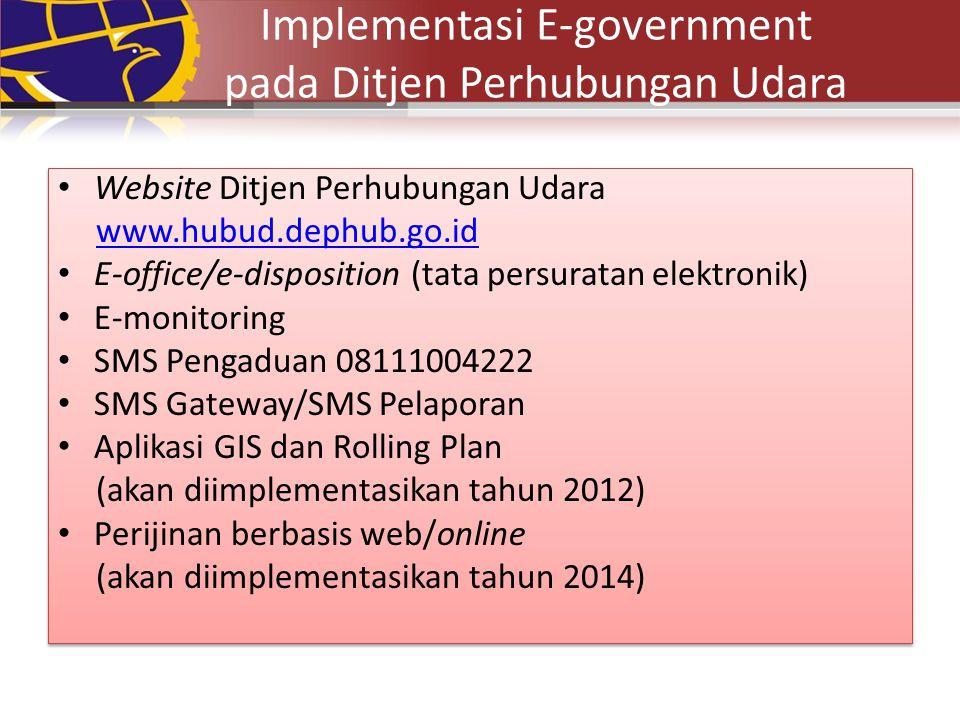 Implementasi E-government pada Ditjen Perhubungan Udara Website Ditjen Perhubungan Udara www.hubud.dephub.go.id E-office/e-disposition (tata persurata