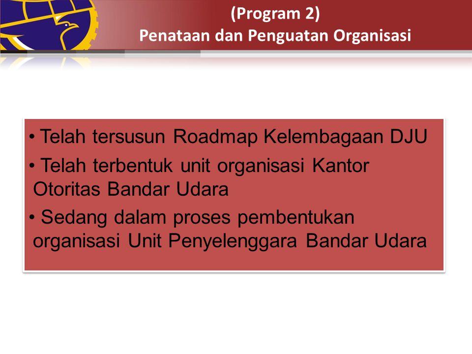 (Program 2) Penataan dan Penguatan Organisasi Telah tersusun Roadmap Kelembagaan DJU Telah terbentuk unit organisasi Kantor Otoritas Bandar Udara Seda