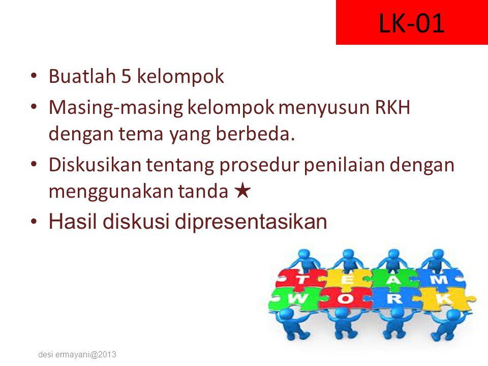 LK-01 Buatlah 5 kelompok Masing-masing kelompok menyusun RKH dengan tema yang berbeda. Diskusikan tentang prosedur penilaian dengan menggunakan tanda