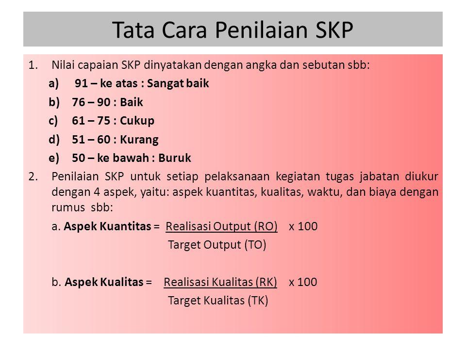 Tata Cara Penilaian SKP 1.Nilai capaian SKP dinyatakan dengan angka dan sebutan sbb: a)91 – ke atas : Sangat baik b)76 – 90 : Baik c)61 – 75 : Cukup d)51 – 60 : Kurang e)50 – ke bawah : Buruk 2.