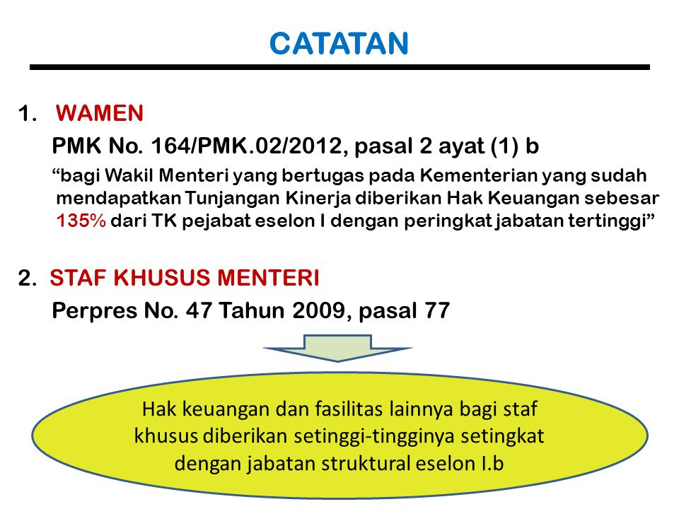 """CATATAN 1.WAMEN PMK No. 164/PMK.02/2012, pasal 2 ayat (1) b """"bagi Wakil Menteri yang bertugas pada Kementerian yang sudah mendapatkan Tunjangan Kinerj"""