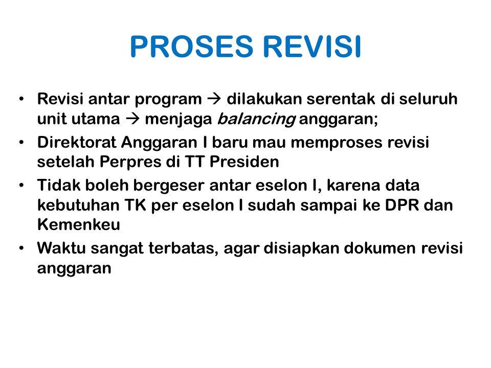 PROSES REVISI Revisi antar program  dilakukan serentak di seluruh unit utama  menjaga balancing anggaran; Direktorat Anggaran I baru mau memproses r