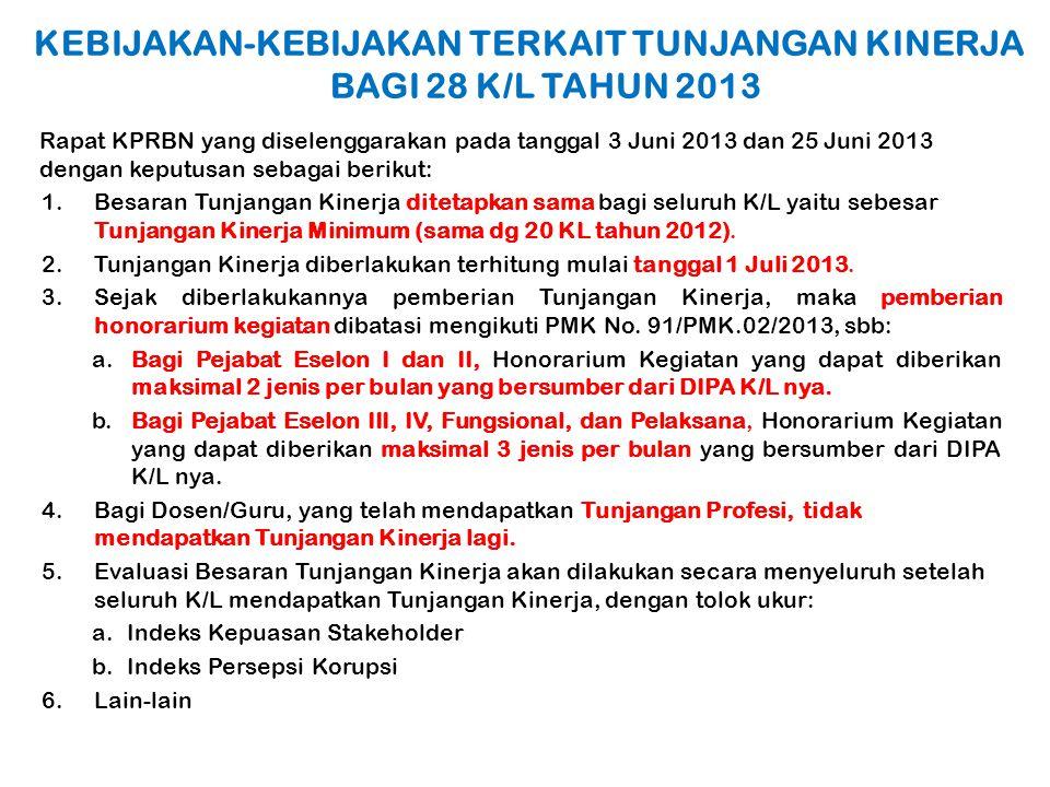 KEBIJAKAN-KEBIJAKAN TERKAIT TUNJANGAN KINERJA BAGI 28 K/L TAHUN 2013 Rapat KPRBN yang diselenggarakan pada tanggal 3 Juni 2013 dan 25 Juni 2013 dengan