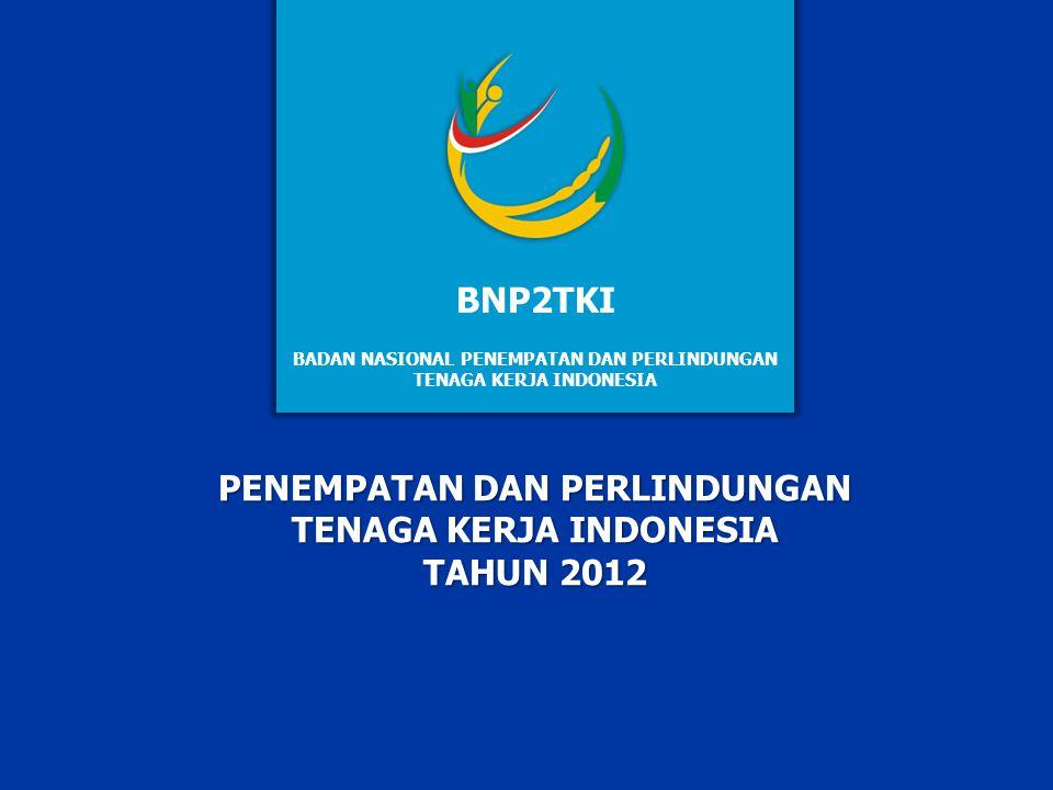 PENEMPATAN TENAGA KERJA LUAR NEGERI INDONESIA BERDASARKAN KELOMPOK LAPANGAN USAHA INDONESIA (KLUI) PERIODE 2011 S.D 2012 11 TAHUN KELOMPOK LAPANGAN USAHA INDONESIA TOTAL 123456789101112 2011 84.2733.09348.9761.83615.3529.28310.684905372.6758.15931.46799586.802 2012 85.4982.48555.4041.79219.3688.02020.0091.000268.9992.77829.21343494.609 1 Pertanian, Peternakan, Kehutanan dan Perikanan 7 Angkutan, Pengudangan dan Komunikasi 2 Pertambangan dan Penggalian 8 Keuangan, Asuransi, Usaha persewaan bangunan dan tanah 3 Industri Pengolahan/Manufactur 9 Jasa Kemasyarakatan, Sosial, dan Perorangan 4 Listrik,Gas dan Air 10 Lain-lain (Kegiatan yang belum jelas) 5 Bangunan/Konstruksi 11 Kapal Pesiar 6 Perdagangan, Restoran dan Hotel 12 Lainnya Sumber data: PUSAT PENELITIAN PENGEMBANGAN DAN INFORMASI (PUSLITFO BNP2TKI)