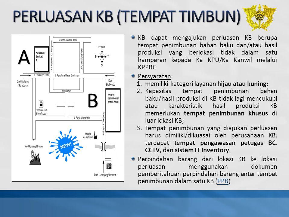 KB dapat mengajukan perluasan KB berupa tempat penimbunan bahan baku dan/atau hasil produksi yang berlokasi tidak dalam satu hamparan kepada Ka KPU/Ka