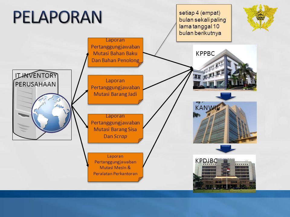 KPPBC IT INVENTORY PERUSAHAAN Laporan Pertanggungjawaban Mutasi Bahan Baku Dan Bahan Penolong Laporan Pertanggungjawaban Mutasi Barang Jadi Laporan Pe