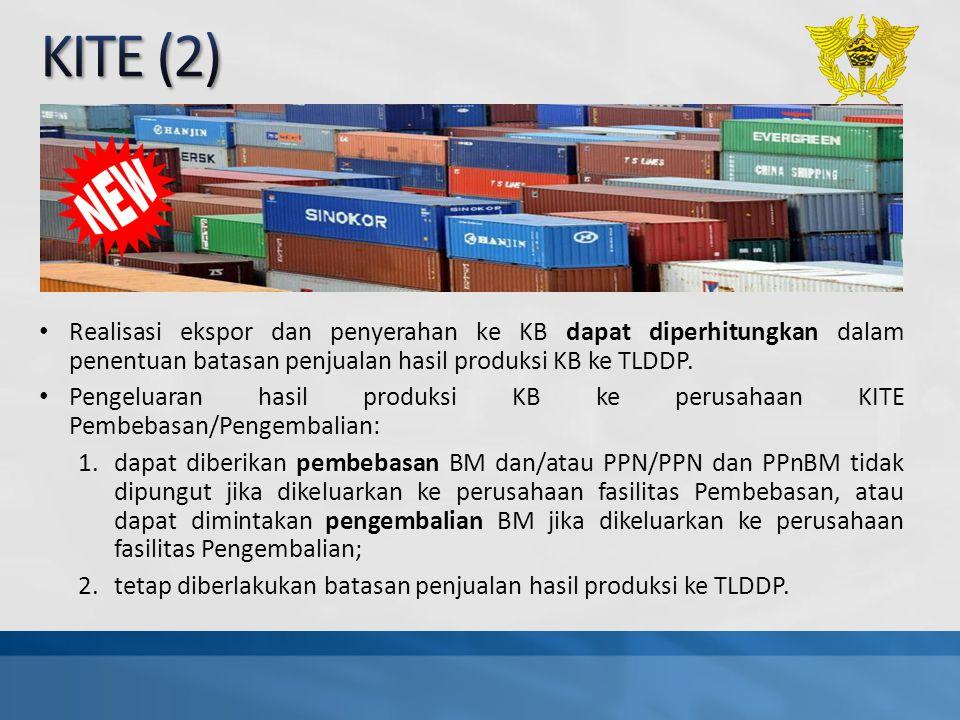 Realisasi ekspor dan penyerahan ke KB dapat diperhitungkan dalam penentuan batasan penjualan hasil produksi KB ke TLDDP. Pengeluaran hasil produksi KB
