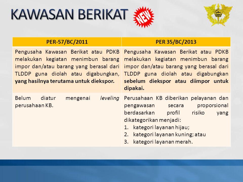 PER-57/BC/2011PER 35/BC/2013 Pengusaha Kawasan Berikat atau PDKB melakukan kegiatan menimbun barang impor dan/atau barang yang berasal dari TLDDP guna