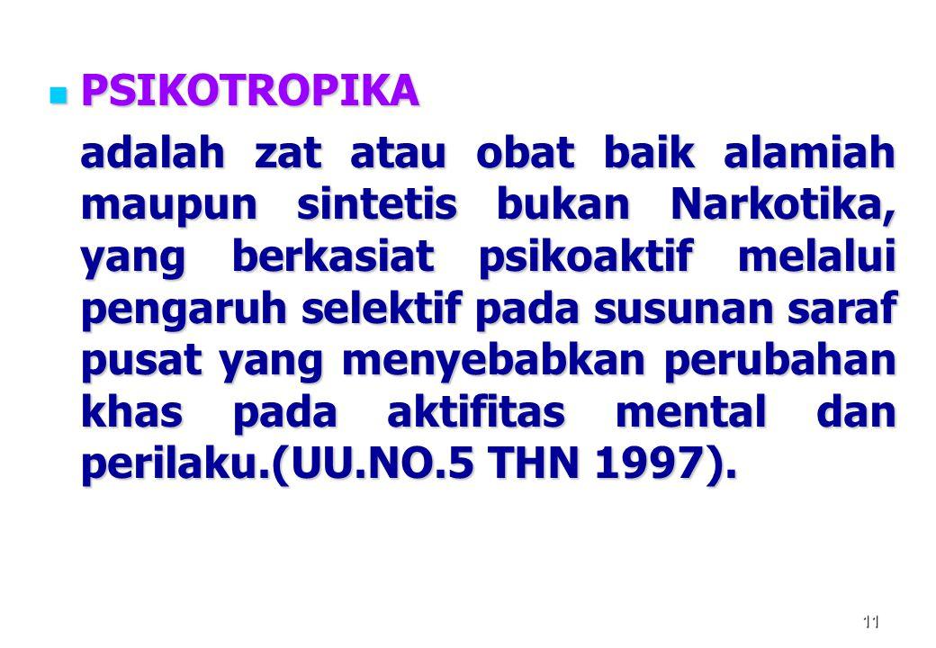 11 PSIKOTROPIKA PSIKOTROPIKA adalah zat atau obat baik alamiah maupun sintetis bukan Narkotika, yang berkasiat psikoaktif melalui pengaruh selektif pa