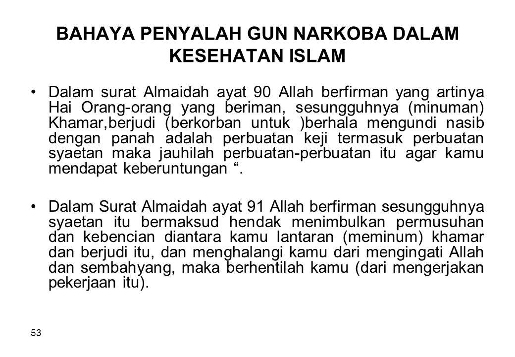 BAHAYA PENYALAH GUN NARKOBA DALAM KESEHATAN ISLAM Dalam surat Almaidah ayat 90 Allah berfirman yang artinya Hai Orang-orang yang beriman, sesungguhnya
