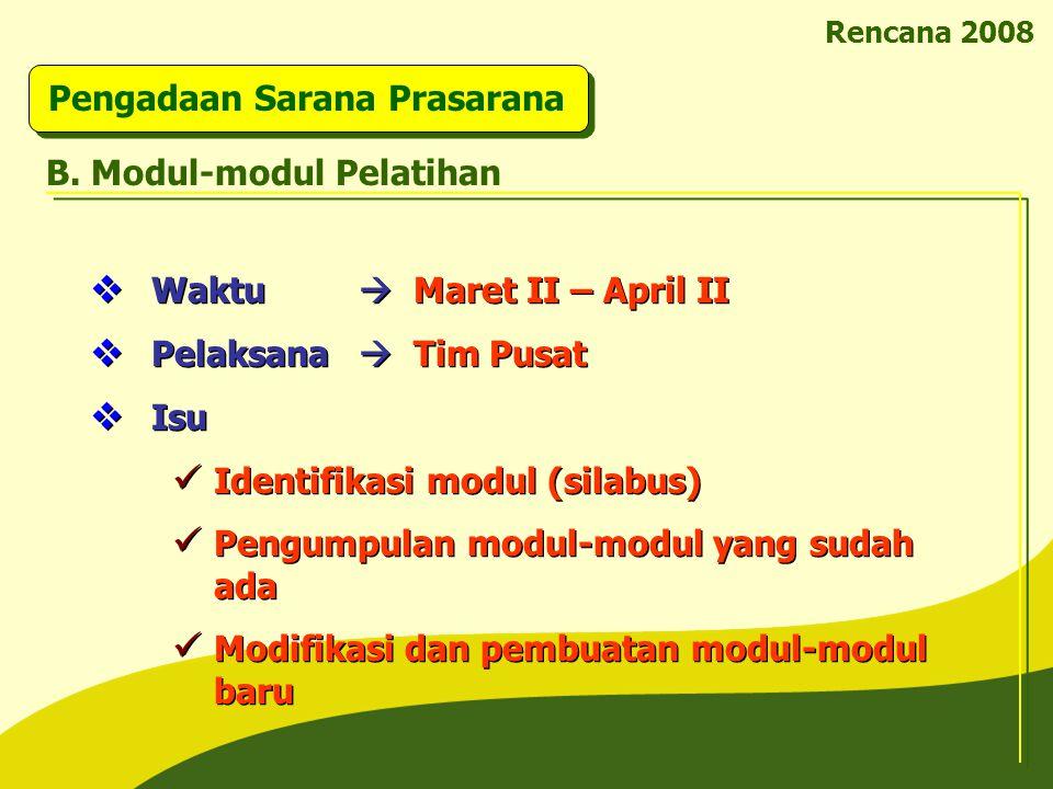 Rencana 2008 Pengadaan Sarana Prasarana B. Modul-modul Pelatihan  Waktu  Maret II – April II  Pelaksana  Tim Pusat  Isu Identifikasi modul (silab