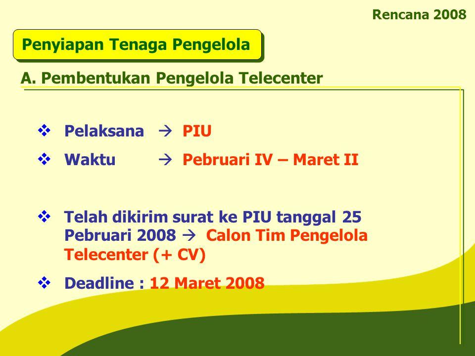 Pelaksana  PIU  Waktu  Pebruari IV – Maret II  Telah dikirim surat ke PIU tanggal 25 Pebruari 2008  Calon Tim Pengelola Telecenter (+ CV)  Dea