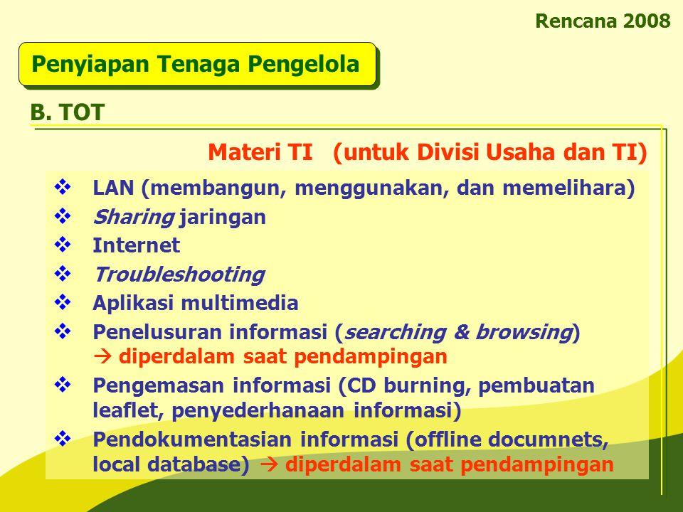 Rencana 2008 Penyiapan Tenaga Pengelola B. TOT  LAN (membangun, menggunakan, dan memelihara)  Sharing jaringan  Internet  Troubleshooting  Aplika