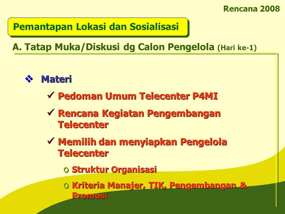Rencana 2008 Pemantapan Lokasi dan Sosialisasi  Materi Pedoman Umum Telecenter P4MI Rencana Kegiatan Pengembangan Telecenter Memilih dan menyiapkan P