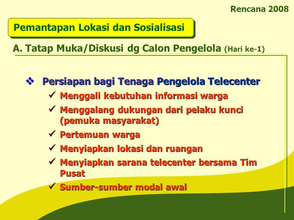 Rencana 2008 Pemantapan Lokasi dan Sosialisasi  Persiapan bagi Tenaga Pengelola Telecenter Menggali kebutuhan informasi warga Menggalang dukungan dar