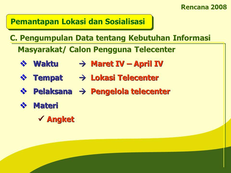 Rencana 2008 Pemantapan Lokasi dan Sosialisasi C. Pengumpulan Data tentang Kebutuhan Informasi Masyarakat/ Calon Pengguna Telecenter  Waktu  Maret I