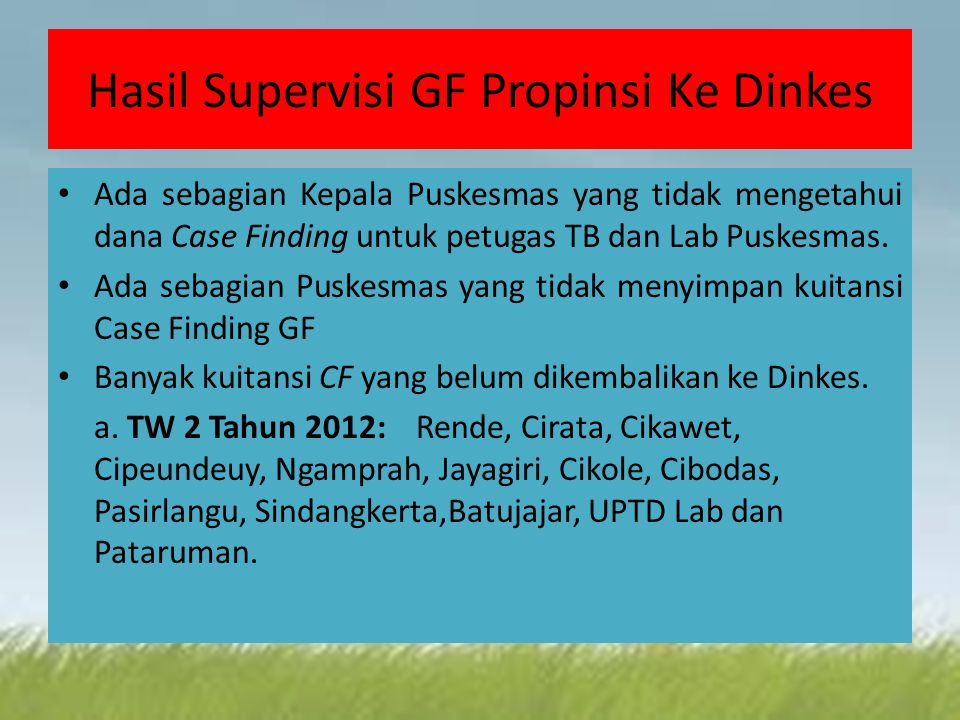 Hasil Supervisi GF Propinsi Ke Dinkes Ada sebagian Kepala Puskesmas yang tidak mengetahui dana Case Finding untuk petugas TB dan Lab Puskesmas.
