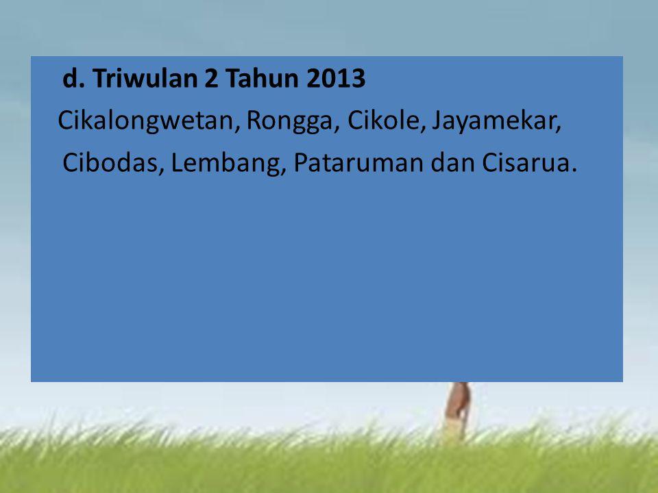 d. Triwulan 2 Tahun 2013 Cikalongwetan, Rongga, Cikole, Jayamekar, Cibodas, Lembang, Pataruman dan Cisarua.