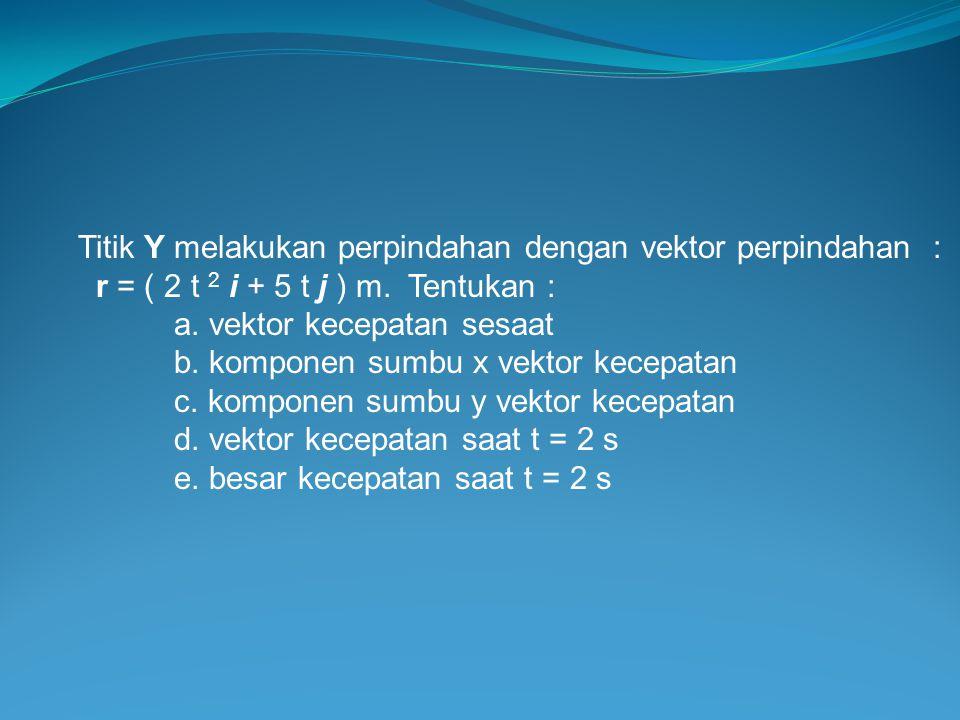 Titik Y melakukan perpindahan dengan vektor perpindahan : r = ( 2 t 2 i + 5 t j ) m. Tentukan : a. vektor kecepatan sesaat b. komponen sumbu x vektor