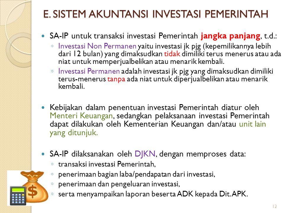 E. SISTEM AKUNTANSI INVESTASI PEMERINTAH SA-IP untuk transaksi investasi Pemerintah jangka panjang, t.d.: ◦ Investasi Non Permanen yaitu investasi jk