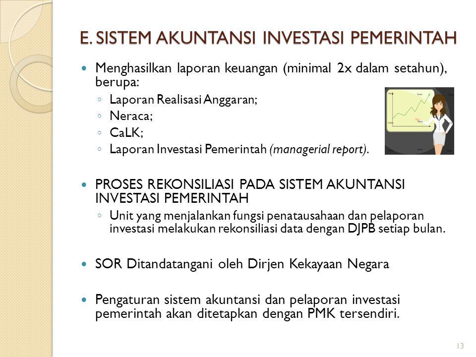 E. SISTEM AKUNTANSI INVESTASI PEMERINTAH Menghasilkan laporan keuangan (minimal 2x dalam setahun), berupa: ◦ Laporan Realisasi Anggaran; ◦ Neraca; ◦ C