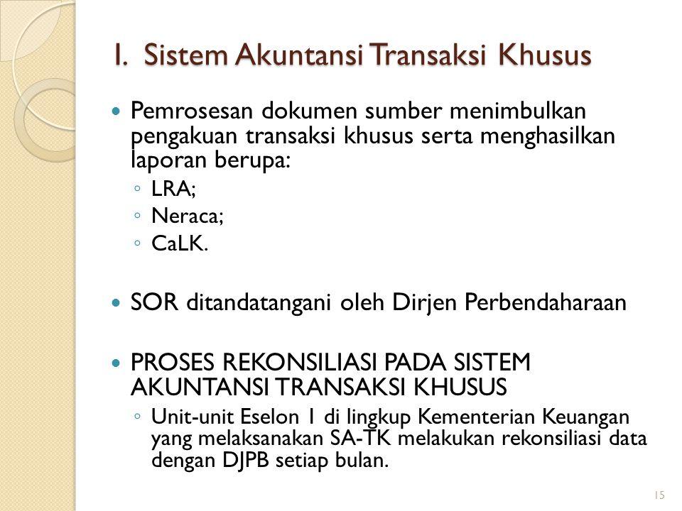 Pemrosesan dokumen sumber menimbulkan pengakuan transaksi khusus serta menghasilkan laporan berupa: ◦ LRA; ◦ Neraca; ◦ CaLK. SOR ditandatangani oleh D