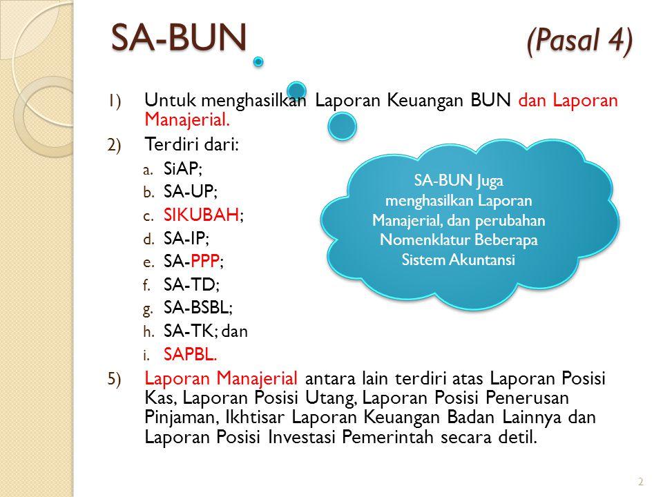 SA-BUN Juga menghasilkan Laporan Manajerial, dan perubahan Nomenklatur Beberapa Sistem Akuntansi 1) Untuk menghasilkan Laporan Keuangan BUN dan Lapora