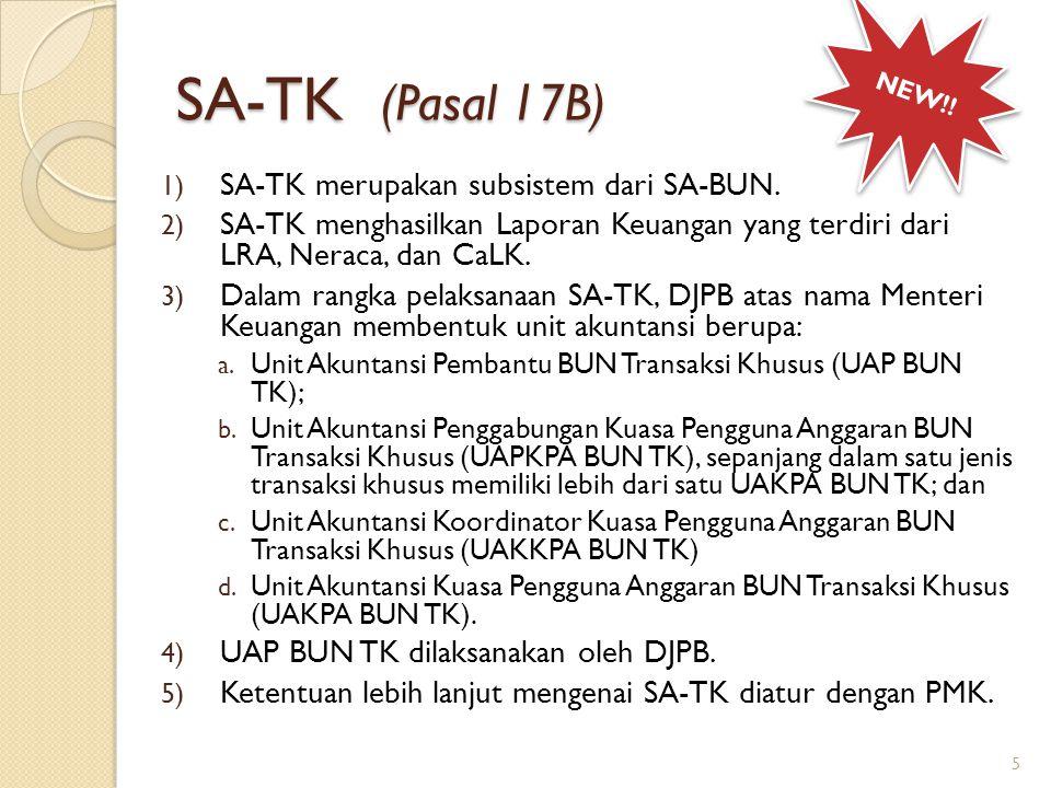 SA-TK (Pasal 17B) 1) SA-TK merupakan subsistem dari SA-BUN. 2) SA-TK menghasilkan Laporan Keuangan yang terdiri dari LRA, Neraca, dan CaLK. 3) Dalam r