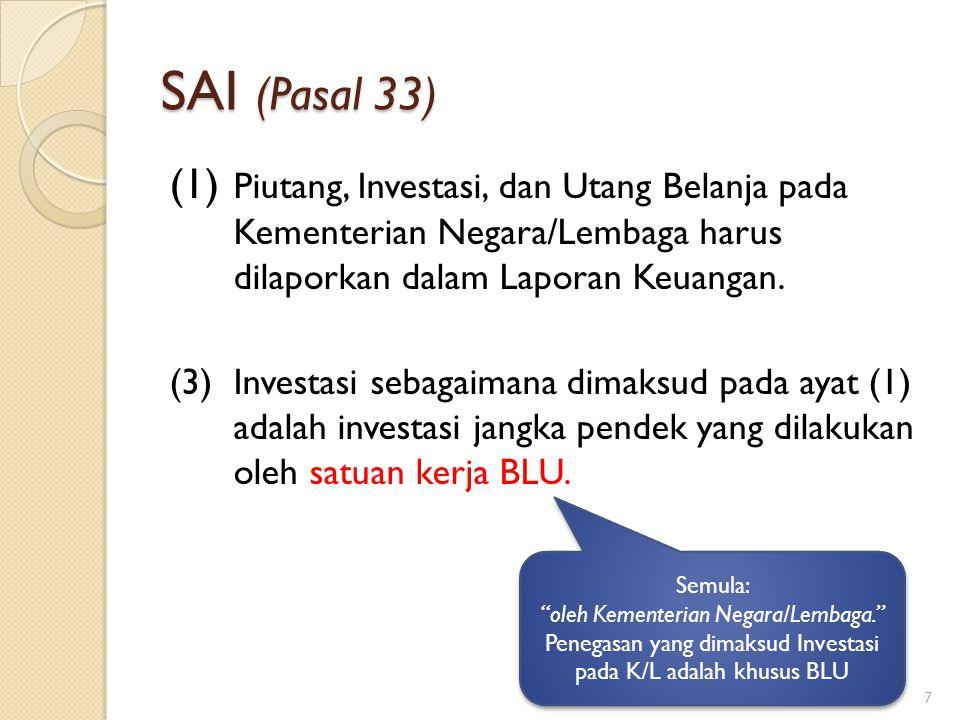 SAI (Pasal 33) (1) Piutang, Investasi, dan Utang Belanja pada Kementerian Negara/Lembaga harus dilaporkan dalam Laporan Keuangan. (3)Investasi sebagai