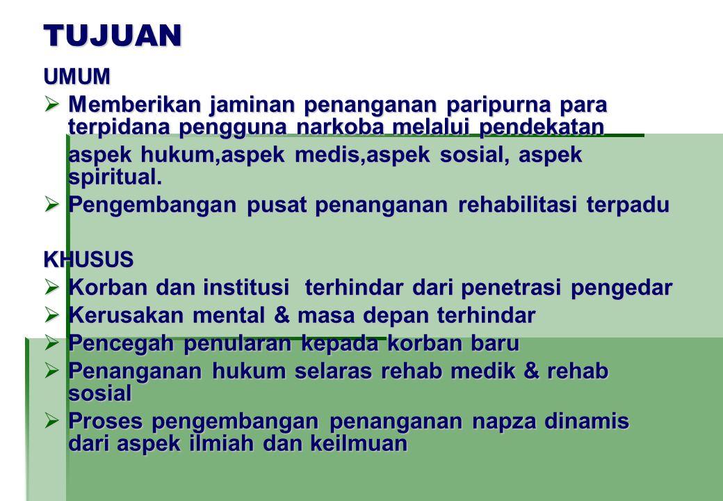 TUJUAN UMUM  Memberikan jaminan penanganan paripurna para terpidana pengguna narkoba melalui pendekatan aspek hukum,aspek medis,aspek sosial, aspek spiritual.