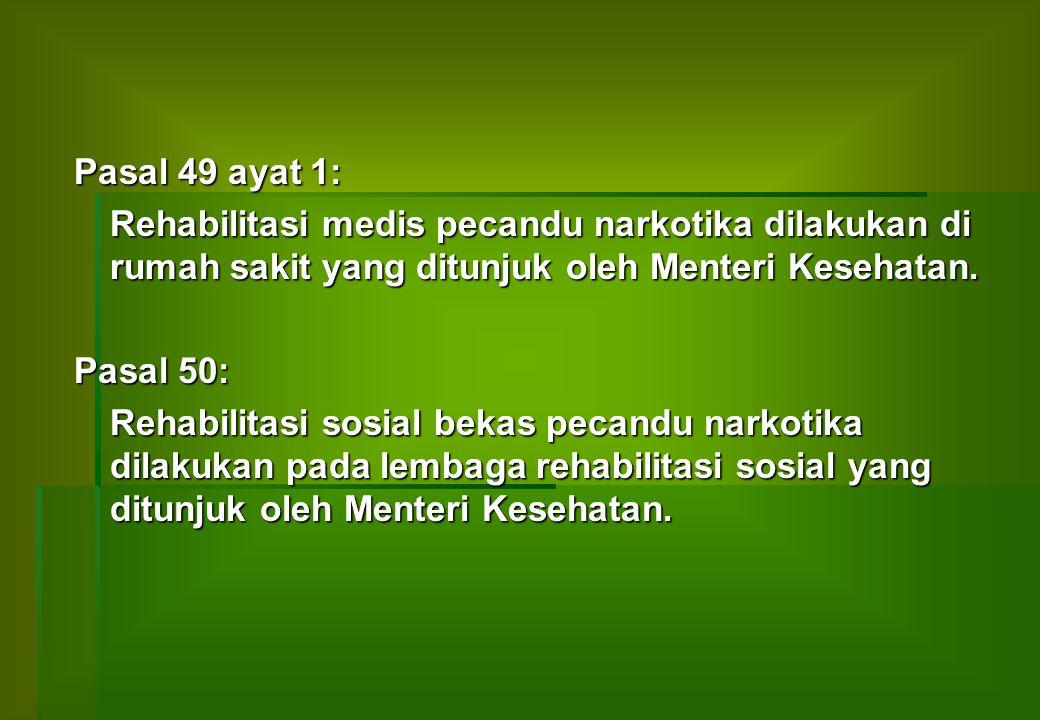UU NO:5 TH.1997 TENTANG PSIKOTROPIKA Pasal 37: a)Pengguna psikotropika yang menderita sindroma ketergantungan berkewajiban untuk ikut serta dalam pengobatan dan/atau perawatan.