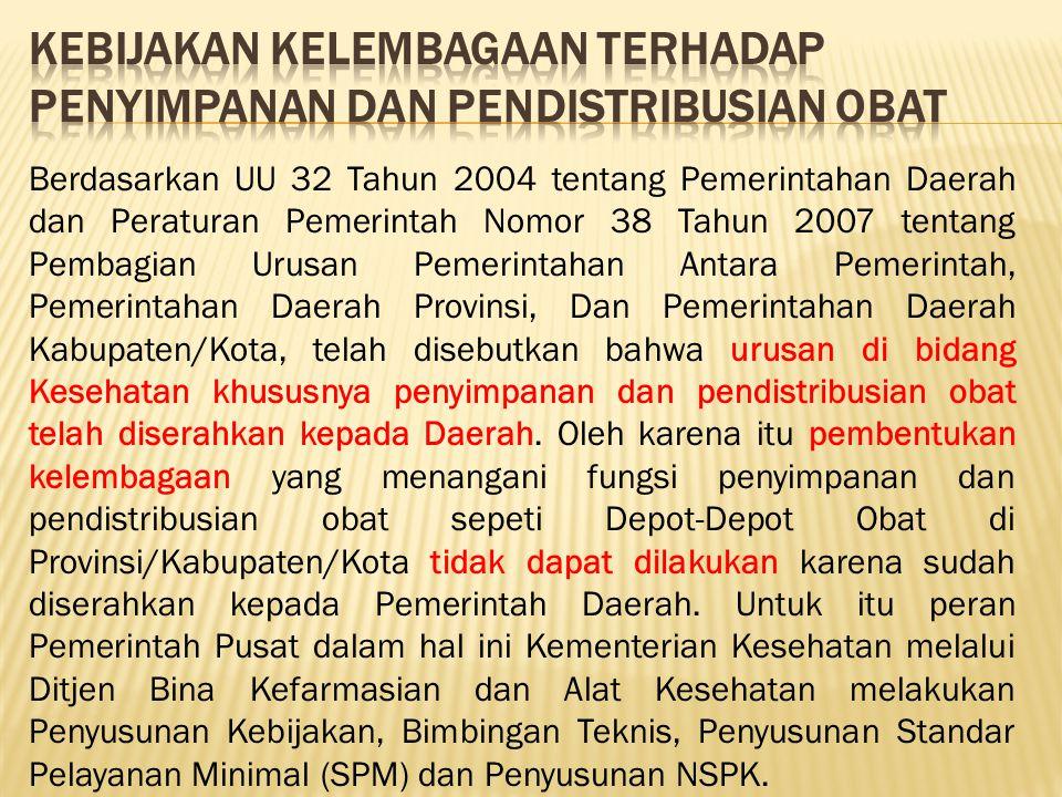 Berdasarkan UU 32 Tahun 2004 tentang Pemerintahan Daerah dan Peraturan Pemerintah Nomor 38 Tahun 2007 tentang Pembagian Urusan Pemerintahan Antara Pem