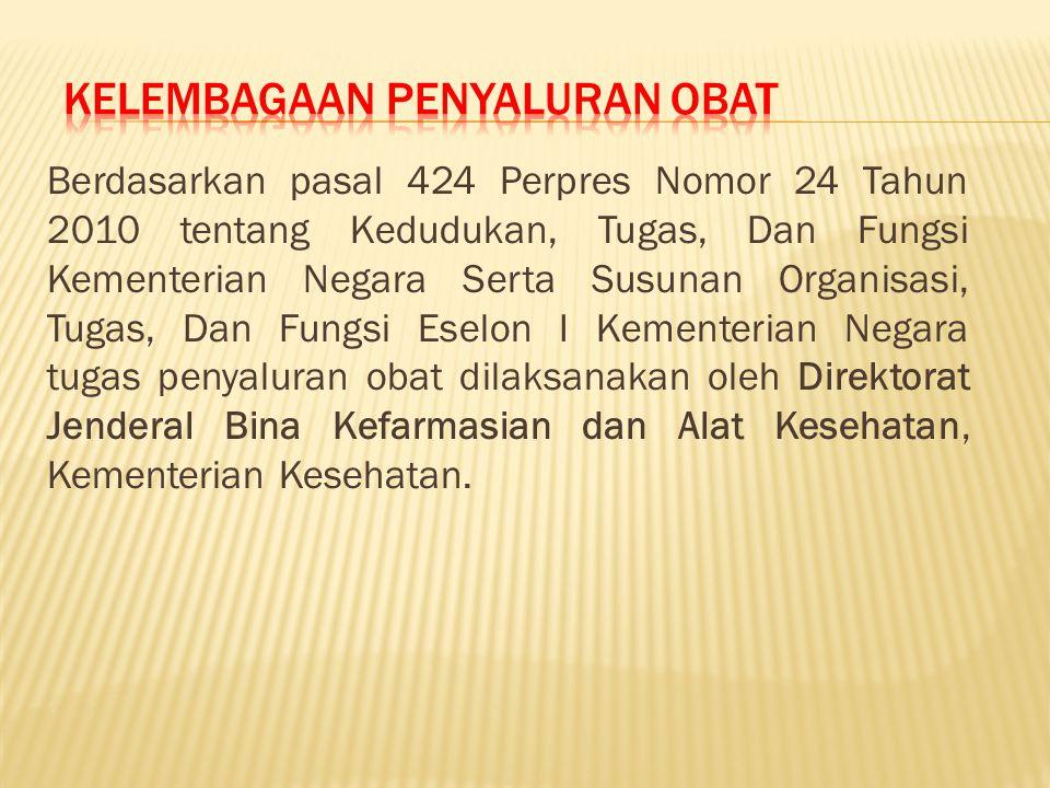 Berdasarkan pasal 424 Perpres Nomor 24 Tahun 2010 tentang Kedudukan, Tugas, Dan Fungsi Kementerian Negara Serta Susunan Organisasi, Tugas, Dan Fungsi