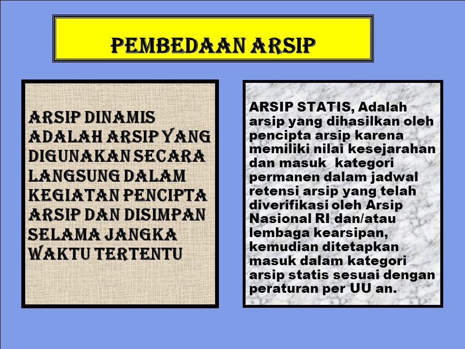 PEMBEDAAN ARSIP ARSIP DINAMIS Adalah arsip yang digunakan secara langsung dalam kegiatan pencipta arsip dan disimpan selama jangka waktu tertentu ARSI