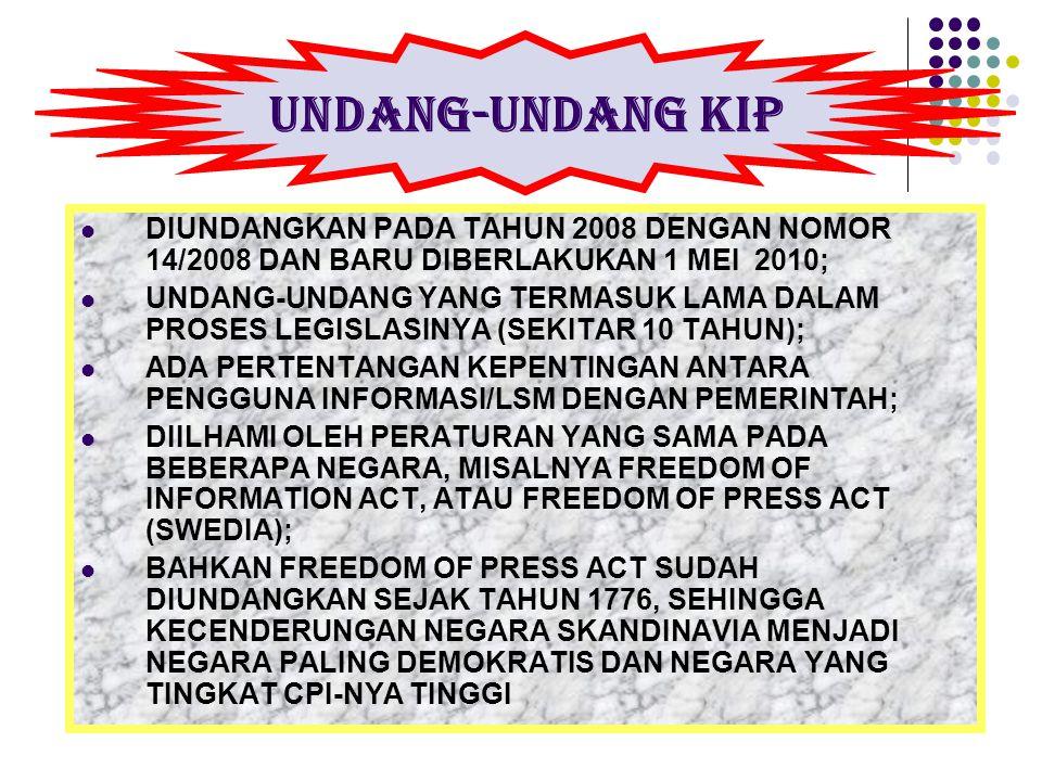 DIUNDANGKAN PADA TAHUN 2008 DENGAN NOMOR 14/2008 DAN BARU DIBERLAKUKAN 1 MEI 2010; UNDANG-UNDANG YANG TERMASUK LAMA DALAM PROSES LEGISLASINYA (SEKITAR